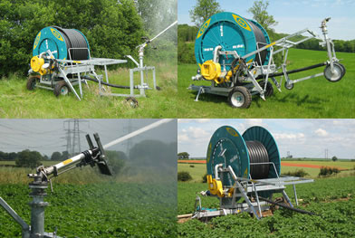 Various hose-reel irrigators in action